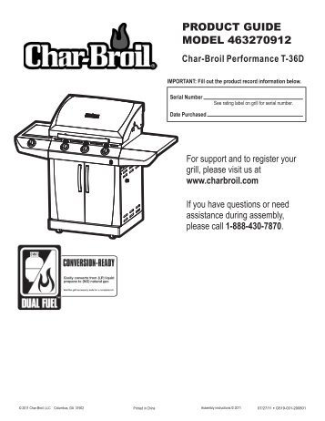 PRODUCT GUIDE MODEL 463270912 - Char-Broil Grills