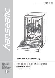 Gebrauchsanleitung Hanseatic Geschirrspüler WQP8-9345C
