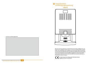 Inbetriebnahme- und Reinigungsanweisung cino ... - Black and Yellow