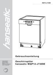 Gebrauchsanleitung Geschirrspüler hanseatic WQP12 ... - Schwab