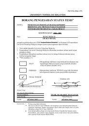borang pengesahan status tesis - Universiti Teknologi Malaysia