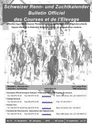 Schweizer Renn- und Zuchtkalender Bulletin Officiel des ... - Iena