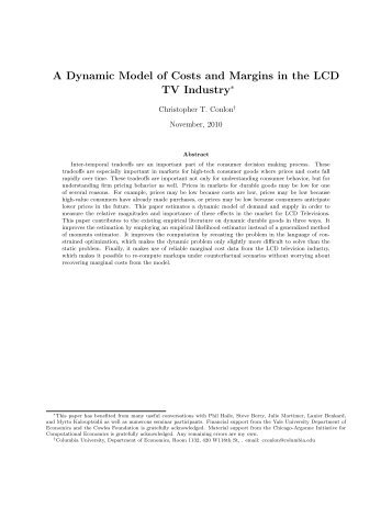 A Dynamic Model of Costs and Margins in the LCD TV Industry