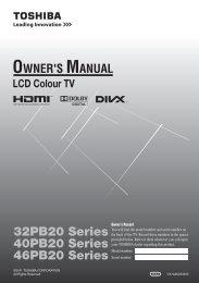 32PB20 Series 40PB20 Series 46PB20 Series - Toshiba REGZA
