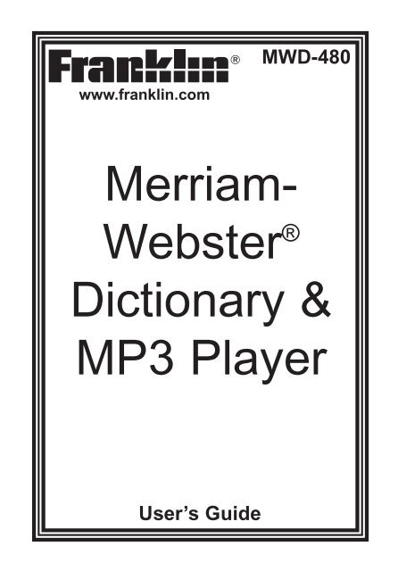 Merriam- Webster® Dictionary & MP3 Player - Franklin Electronic