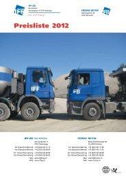 Preisliste 2012 - IFF AG
