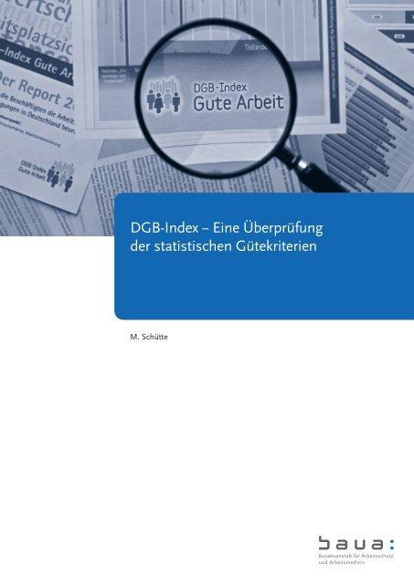 """Bericht """"DGB-Index - Eine Überprüfung der statistischen Gütekriterien"""""""