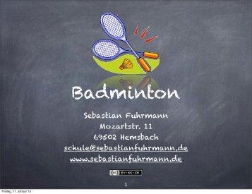 """GFS """"Badminton"""" - Sebastian Fuhrmann"""