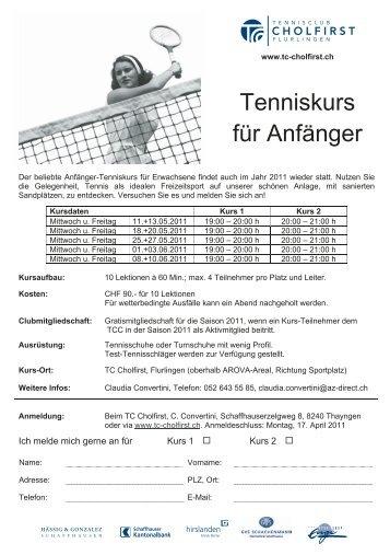 Tenniskurs für Anfänger - Tennisclub Cholfirst