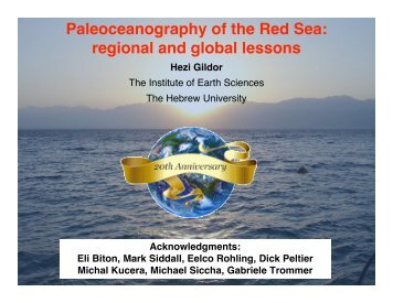 Paleoceanography of the Red Sea: regional and global lessons - VSP