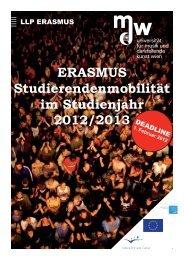ERASMUS Studierendenmobilität im Studienjahr - Universität für ...