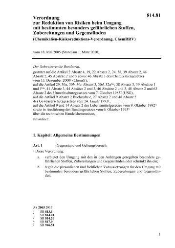 Chemikalien-Risikoreduktions-Verordnung - Topten