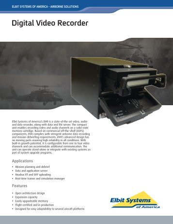 Digital Video Recorder Data Sheet - Elbit Systems of America