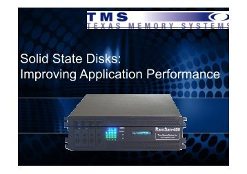 Solid State Disks: Improving Application Performance