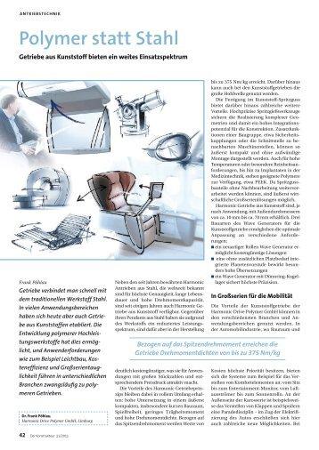 Polymer statt Stahl - Harmonic Drive AG