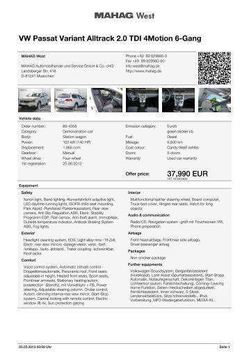 VW Passat Alltrack 2.0 TDI 4Motion 6-Gang Navi Xenon ... - AutoDo!