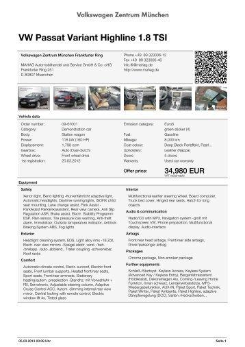 VW Passat Variant Highline 1.8 TSI Volkswagen Zentrum ... - AutoDo!