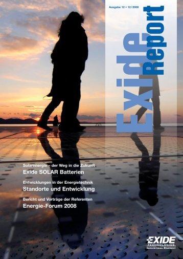 Exide SOLAR Batterien Standorte und Entwicklung ... - Exide-Report