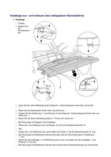 Hutablage aus - und einbauen (bei umklappbarer Rücksitzlehne)