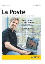 «La Poste» - journal du personnel - La Poste Suisse