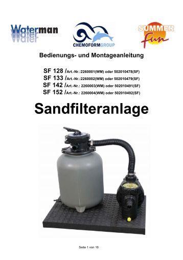 Und montageanleitung eco sandfilteranlage mit 6 wege top for Sandfilteranlage