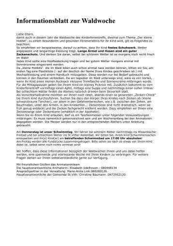 Informationsblatt zur Waldwoche - St.Vith.be