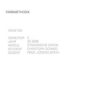 hgkz iad semester jahr modul student dozent 2 ss 2006 ... - portfolio
