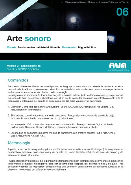 Arte Sonoro Máster En Artes Visuales Y Multimedia Universidad