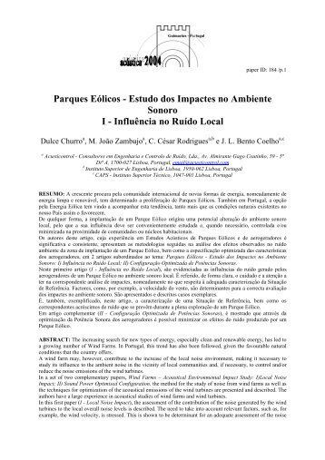 Parques Eólicos - Estudo dos Impactes no Ambiente Sonoro I ...