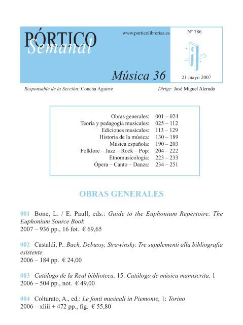 Portico Semanal 786 Musica 36 Pórtico Librerías