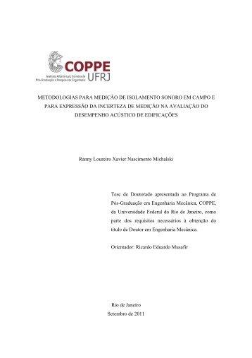 metodologias para medição de isolamento sonoro em ... - UFRJ