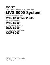 MVS-8000 System System Setup Manual - Sony
