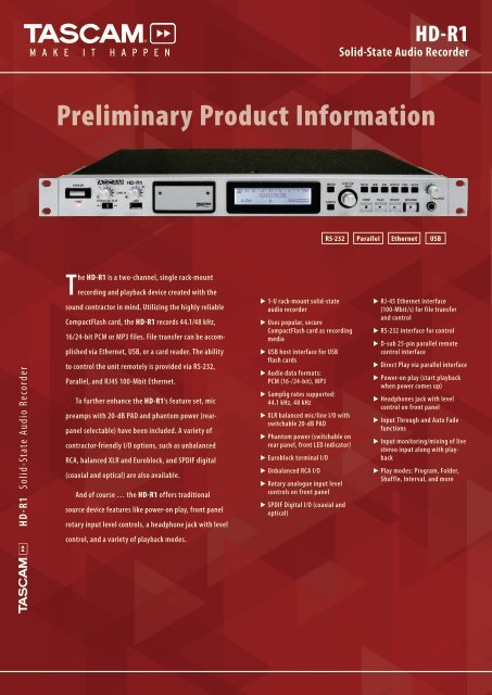 Flyer (Product Information) - Tascam