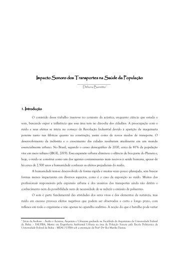 Impacto Sonoro dos Transportes na Saúde da População Impacto ...