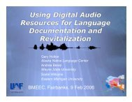 Using Digital Audio Resources for Language Documentation and ...