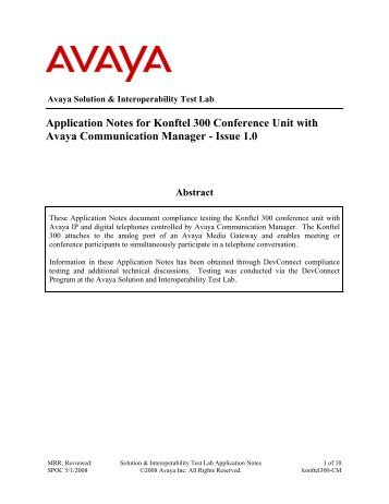 Application Notes for Konftel 300 Conference Unit with Avaya ...