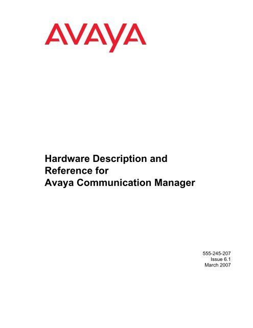 Hardware Description and Reference for Avaya Communication