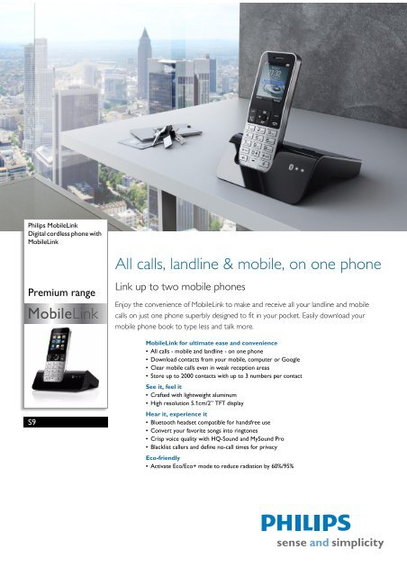 S9/38 Philips Digital cordless phone with MobileLink