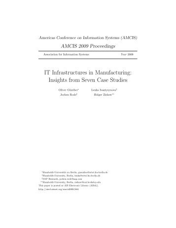IT Infrastructures in Manufacturing: Insights from Seven Case Studies