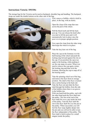 Instructions Victoria S95/S96: - George Weil Craft Supplies