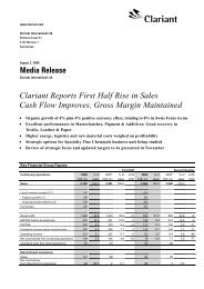 Media Release Clariant Reports First Half Rise in Sales Cash Flow ...
