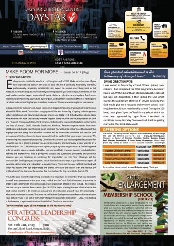 Download Bulletin for January 6th 2013 - Daystar