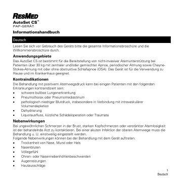 S9 AutoSet CS Information Guide - CPAP-Shop.de