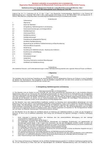 Habilitationsordnung nach altem Recht - Medizinische Fakultät der ...