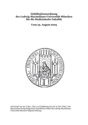 Habilitationsordnung vom 25.08.2005 - Medizinische Fakultät der ...