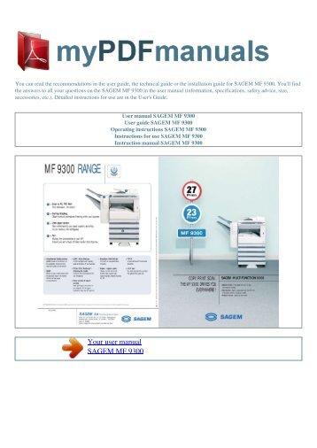 User manual SAGEM MF 9300 - MY PDF MANUALS