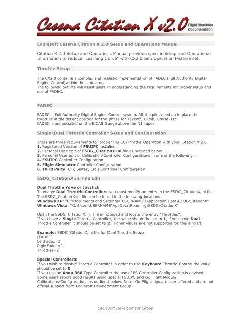 CX20 Throttle Setup Manual