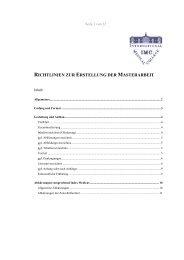 richtlinien zur erstellung der masterarbeit - International Medical ...