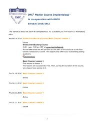 IMC® Master Course Implantology - in co-operation with GBOI