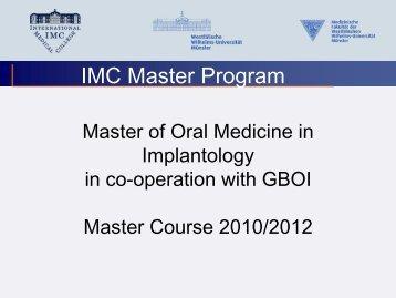 IMC Master Program - International Medical College IMC
